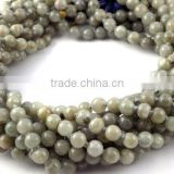 "1 Strand Natural Grey Agate Smooth Rondelle Balls 7mm 32"" Long Beads Strand,Japa Mala,Prayer Beads Strand,108 Beads Mala"