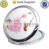 Peach blossom style double cosmetic mirror 1:2 magnifying glass