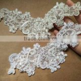 Bridal Beaded Lace Applique,Sew On Sequin Beaded Pearl Collar Applique Motif