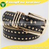 Women's Fashion Gold metal studded PU black leather jeans belt with double bean chian