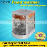 Commercial hot food display curved glass showcase food warmer steamer