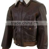 High Quality 100% Genuine Cowhide Natural Grain Mens Distressed Brown Leather Bomber Jacket with Remoable Fur On Collar