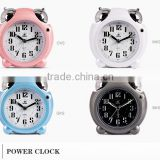 Environmental Friendly clocks for kinds using Plastic materials Power sweep movement Ringing alarm clock
