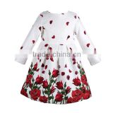 Baby Girls Dress Long Sleeve 2015 Rose Flower Kids Clothes Girls Dresses Winter Princess Dress Children Clothing Christmas G26