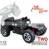 High speed rc toys 2.4G 4WD short truck rc car 1:12 electric car buggy with 550 brush motor and 35km/h speed