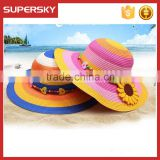 K-114 Flower Women Ladies Floppy Bohemia Straw Hat Wide Large Brim Sun Summer Beach Cap Hat