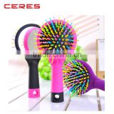 Abundant hair & antistatic Detangling Comb Eyecandy Rainbow wave curly plastic Hair Brush