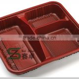 500ml strong wall 3 compartment eco-friendly food grade plastic food packaging lunch box to Asian market