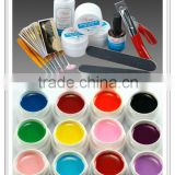 Starter Nail Art UV Gel Tools + 12Pcs Fluorescent Colors UV Gel Full Kit HN1284