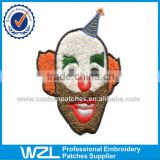 Custom wholesale cartoon clothes chenille applique and Clown design embroidery chenille patch