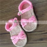 pink color Mary Jane Shoes style hand crochet Newborn Baby Girl Slippers