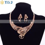 African style fairy flower shaped hollow jewelry set golden crystal jewelry set bridal wedding accessories