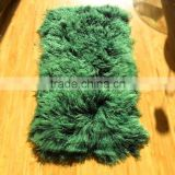 Wholesale Two Color Matching Dyed Long Hair Mongolian Lamb Fur Plate for Garment and Blanket