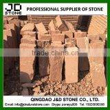 red sandstone blocks in natural split finish for building