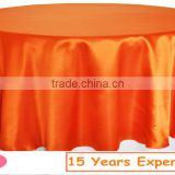 Hot sale orange satin table overlay for banquet/high quality wedding satin table overlay