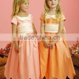 Lovely Short Sleeves Ankle Length Custom Made Vestidos Flower Girl for Wedding FG041 fashion kids party wear girl dress