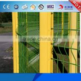 Factory 3d fence panel/triangle bending fence welded wire mesh fence with peach square round post