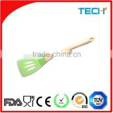 Silicone Shovel, Silicone Slotted Turner, Silicone Spatula with bamboo Handle