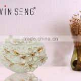 ceramic vases for wedding centerpieces embosed with hand printed golden flower