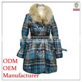 garment/apparel manufacturer fur collar metal double breasted black belt down feather padded coat