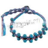 Gets.com synthetic turquoise wrap leather bracelet with crystals