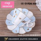 180ML light blue fine bone china coffee cup and saucer