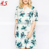 2016 Summer Women Casual short sleeves printing women fashionable fat women dresses pictures