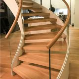 fashion design wooden Curved Staircase with Glass Railing