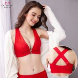 Front buckle no steel ring large size bra lace cross beauty back underwear women gathered adjustable thin bra