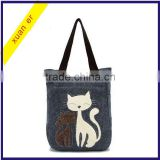 Wholesale fashion cartoon animals canvas lady handbag in china alibaba