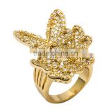 Exquisite Champagne Gold Plated Butterfly Ring for Women Wedding Made with AAA Zircon Crystal Luxury Bamoer Jewelry