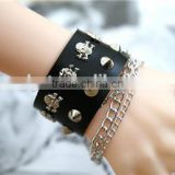 new model broader real leather punk press studs rivet men bracelets with finger ring chain