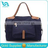 Heavy Duty Navy Blue Unisex Canvas Weekend Bag Travel Weekend Bag With Front Zipper Pocket