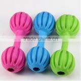 Pet supplies factory thermoplastic rubber dumbbells dog chew toys