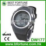 DW177 Black color Digital Rubber Chrono, Timer, Alarm ,heart rate monitor watch