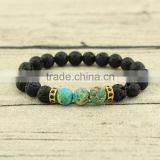 BRP1303 Hot sale fashion blue imperial jasper stretch bracelet,black lava bracelet,stone stacking bracelet