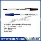 NON-MOQ promotional ball point pen white barrel