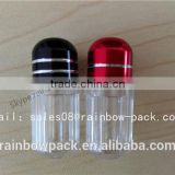 blue clear plastic small capsule bottle with aluminum foil cap for sex pill container/capsule bottle with metal cap