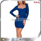 front low straight cut dresses mini blue sexy and tight party dresses long sleeve evening dress short