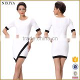 Fashion Sexy Women Ladies Short Sleeve Stretch Bodycon Package Hip Party Club Asymmetric Hem Mini Dress