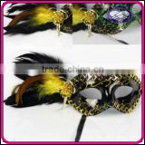 Luxury Venice Crystal Trim Painting Feather Eye Masquerade Mask