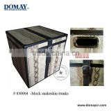 Large square Decorative snakeskin faux leather storage trunk with metal handle