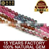 hot gemstone Crystal beads wholesale natural tourmaline semi-finished Beaded Chain multicolored DIY handmade jewelry