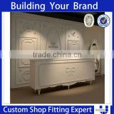 Tailor Made White Modern Wooden Clothes Shop Reception Desk Counters Design                                                                                         Most Popular