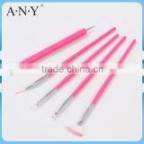 ANY Nail Art Drawing Building Design Wood Handle Pink 5PCS Set Nail Brush Nail Art Pen Kits