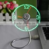 Mini LED USB Fan Clock Flexible Time Display LED Light for Tablet Computer