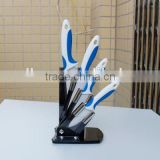 "4pcs Double Injection Handle Blue& White color Ceramic Kitchen Knife set of 3""+4""+5"""