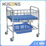 CE ISO Stainless Steel Manual Hospital Baby Bed With Mattress