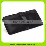 High Quality Soft Baby Cow Skin Belt Closure Women Leather Wallet In Popular Matte Black Color 16918
