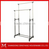 Double-pole extensible movable stainless steel rolling garment extension-type clothes hanger rack